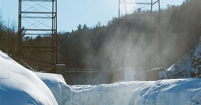2 frozen waterfalls form near New York park's ice volcano