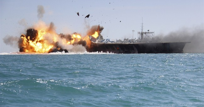 Fake US aircraft carrier the target in latest Iranian drills