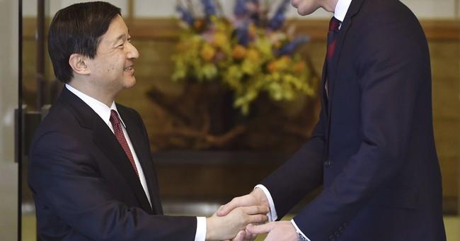 Prince William strikes a friendly contrast to Japan's prince