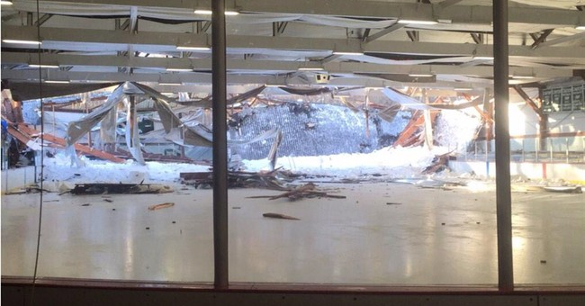 Youth hockey players escape injury in rink roof collapse