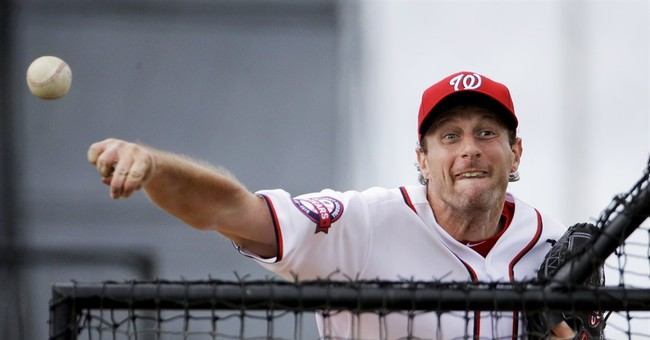 Nats' Scherzer simulates everything, including anthem