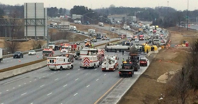 Southbound I-95 reopens outside DC after tanker overturns