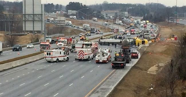 Southbound I-95 reopens outside DC after tanker overturns
