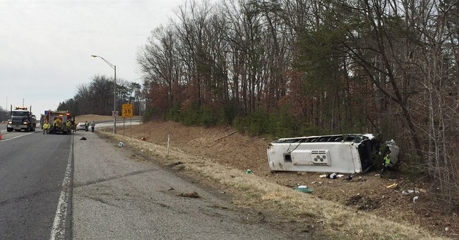 Bus carrying college bowling team overturns in Indiana