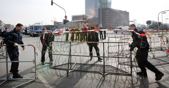 Police barricade European Central Bank ahead of protests