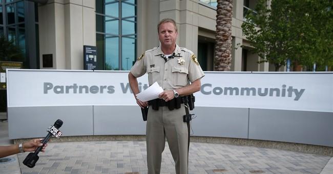 Vegas police officer wearing body camera facing battery case