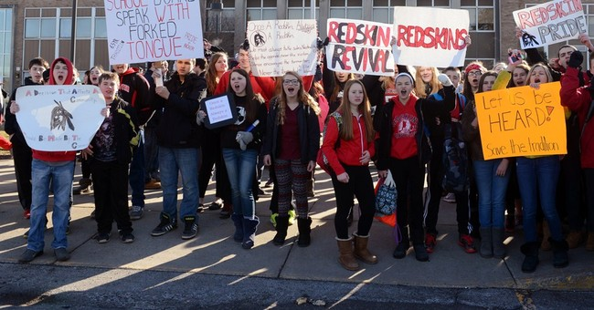 Students protest school's decision to drop Redskins nickname