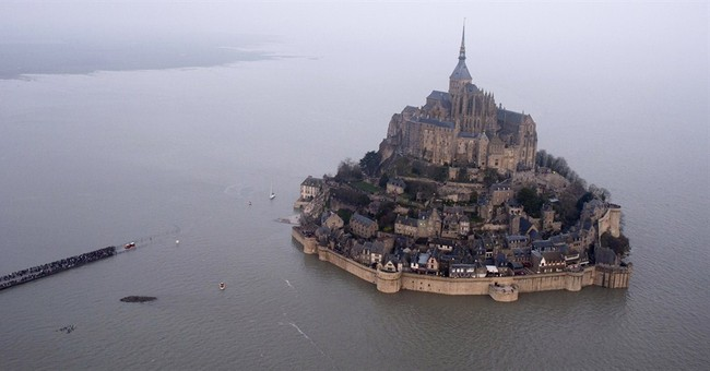 Dazzling supertide envelops France's Mont Saint-Michel