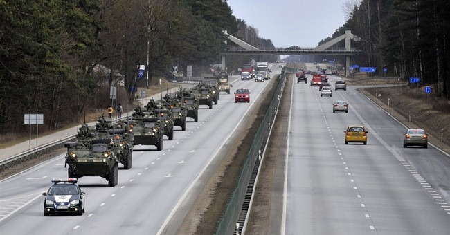 US troops drive in eastern Europe to show defense readiness