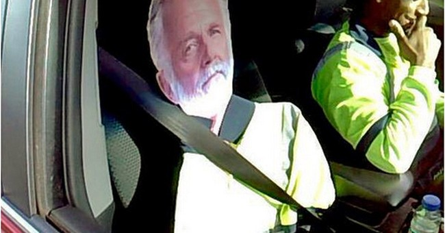 Cardboard 'Most Interesting Man' fails as carpool-lane ruse
