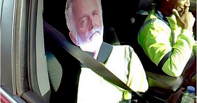 Cardboard 'Most Interesting Man' fails as carpool-lane ruse