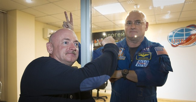 Twin fools NASA at brother's launch on 1-year flight