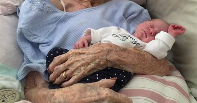 Great-grandma featured in Facebook photo with newborn dies