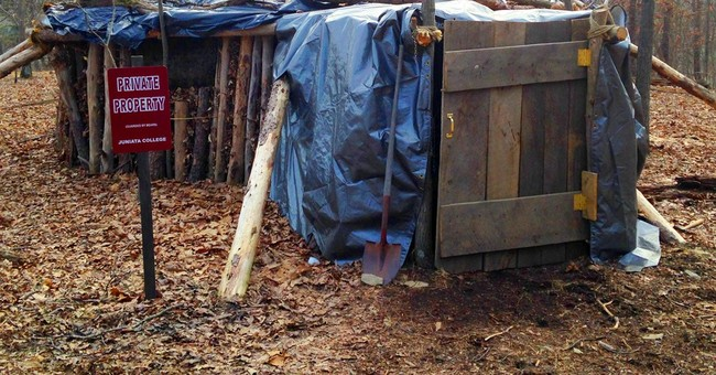 College senior gives new meaning to 'off-campus' with hut