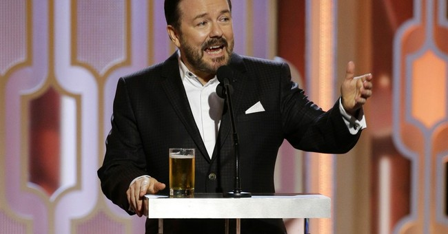 Ricky Gervais barks and bites with his return as Globes host