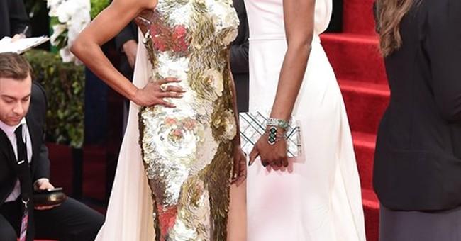 Winter whites, pops of yellow on the Golden Globes carpet