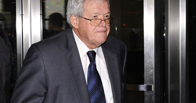 The Latest: Filing says Hastert claimed he was extorted