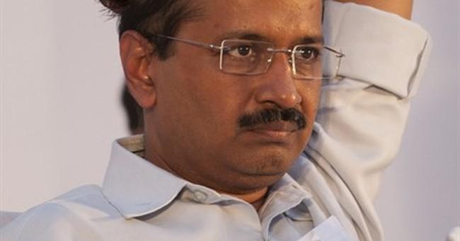 Delhi's leader ducks again, this time as shoe hurled at him