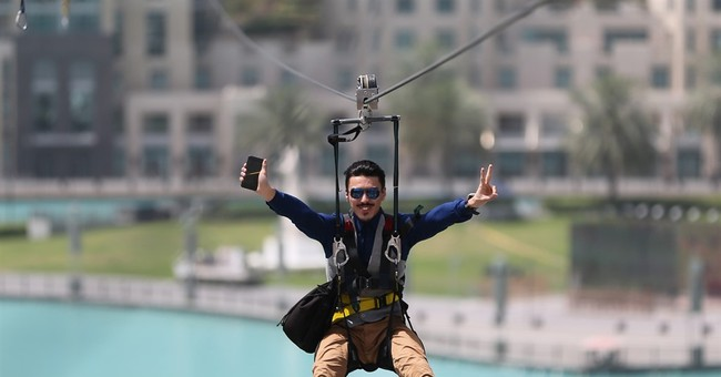 In air travel hub of Dubai, zip line offers new way to fly