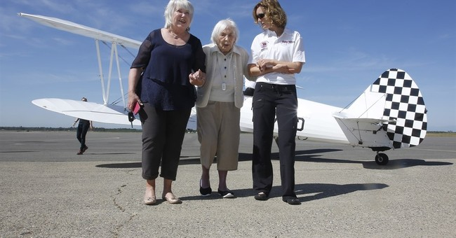 108-year-old veteran stays on solid ground, skips flight