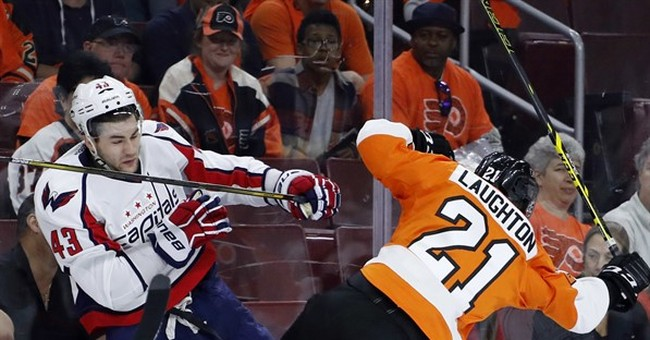 Flyers' Scott Laughton taken off on stretcher after hit