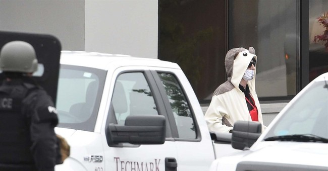 'Bomb' hooked to man in animal suit really flotation device