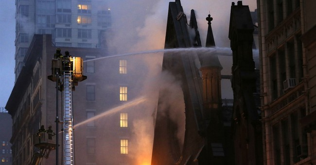 Fire heavily damages historic New York City church