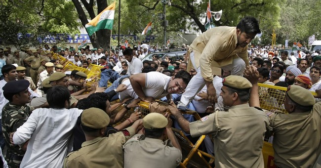 Image of Asia: Congress party supporters protest in Delhi