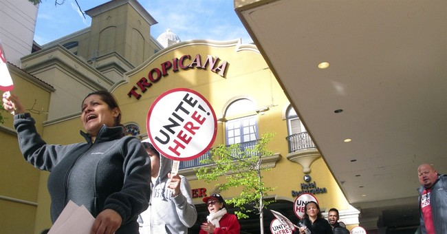 The Latest: Union workers protest outside Tropicana casino