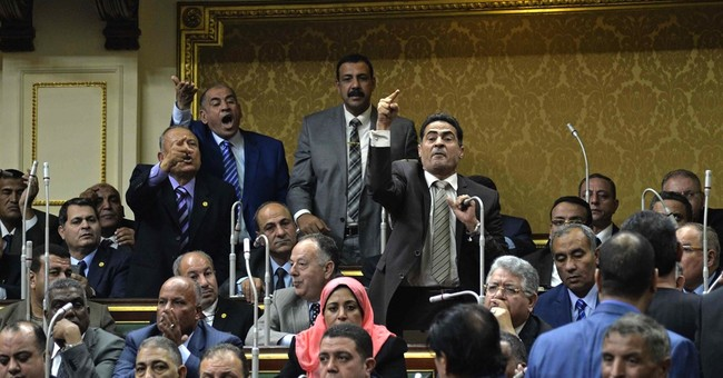 Egypt's first parliament in 3 years off to chaotic start