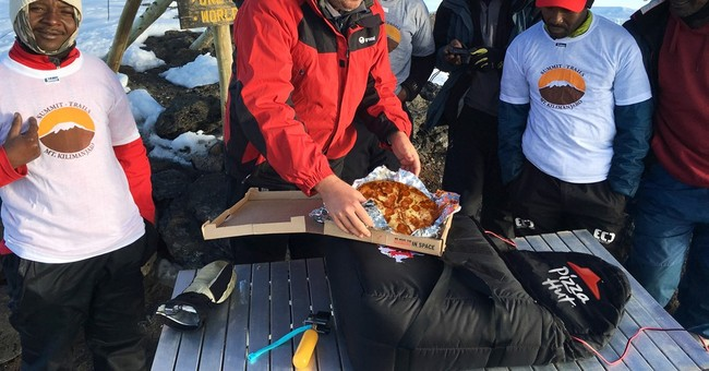 What do you tip pizza delivery guy atop Mt. Kilimanjaro?