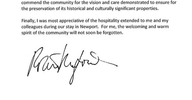 Robert Redford sends thank-you note to Newport after filming