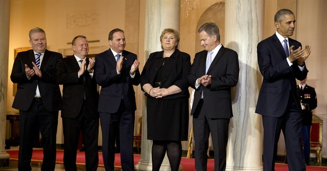 The Latest: Obama ribs Nordic leaders at state dinner