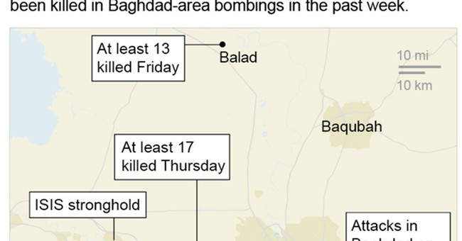 Suicide bombers attack town outside Baghdad, kill 6 people