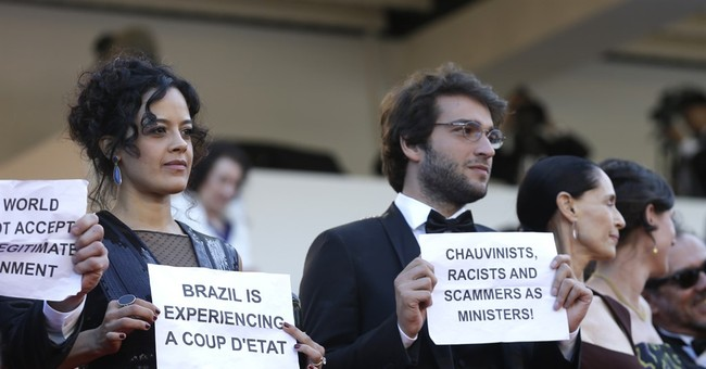 Cannes red carpet protest: 'Brazil is not a democracy'