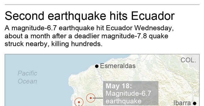 Magnitude 6.8 quake hits Ecuador, 2nd big shake of day