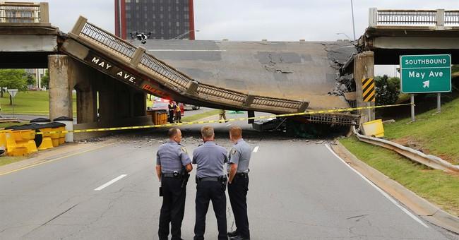 Struck by truck, bridge over major Oklahoma City road falls