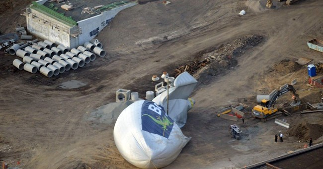 Blimp makes emergency landing at construction site, deflates