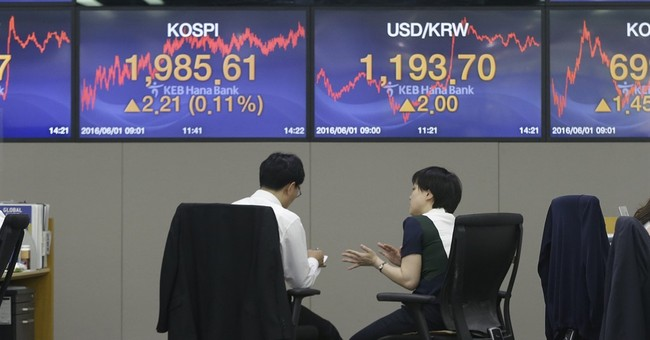 Global stocks turn lower after weak Chinese factory report