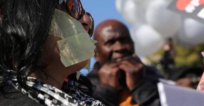 Protesters rally outside South Africa's state broadcaster