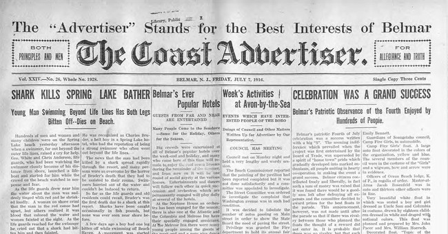 Shark attack! 1916 deaths sparked fear that endures today