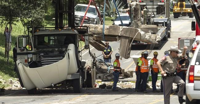 Truck hits Texas bridge, debris strikes car, killing child