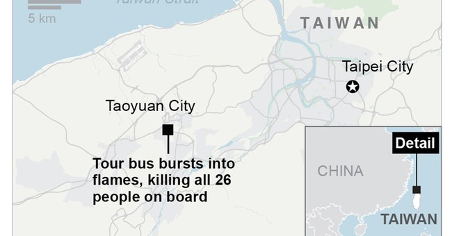 Bus with Chinese tourists catches fire in Taiwan, killing 26