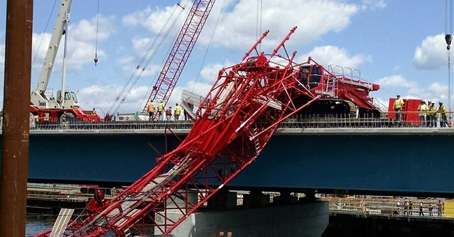 The Latest: 6 lanes now open on bridge after crane collapse