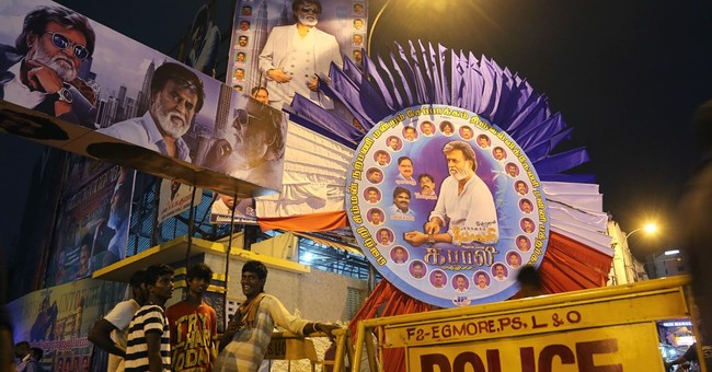 Crowds cheer Indian superstar Rajnikanth's latest film