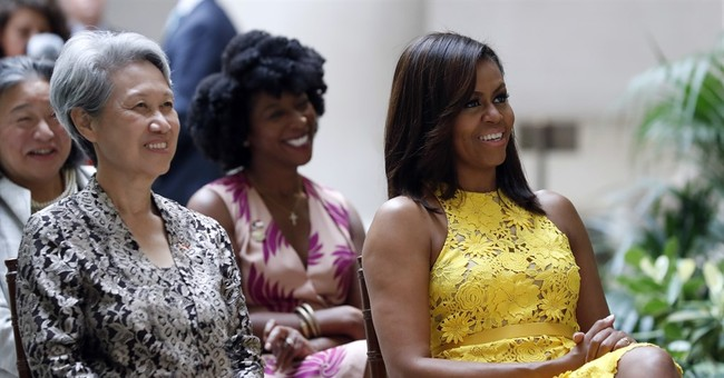 Michelle Obama wears gown by Brandon Maxwell, Gaga stylist