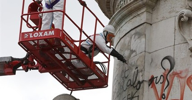 Paris city council cleans up Republique square statue