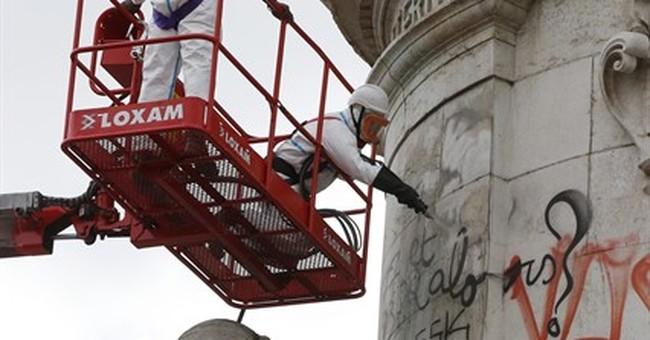 Paris city council cleans up Republique square statue