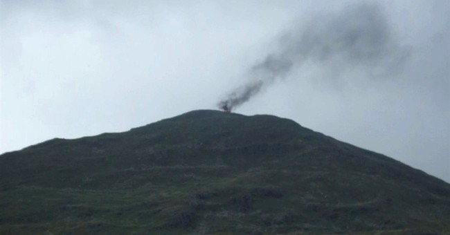 RAF helicopter catches fire after landing on Wales mountain