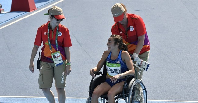 Runner who helped hurts knee and won't return at Olympics